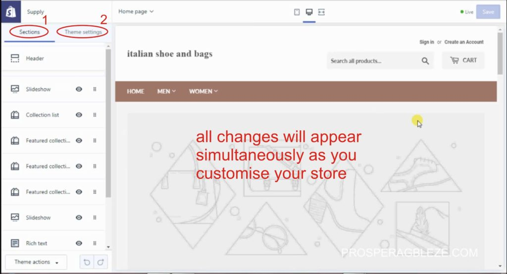 how to customise a shopify store