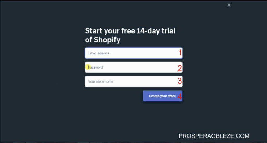 Start your 14 days free trial of shopify