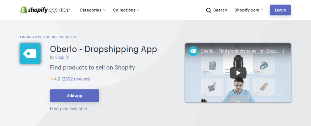 oberlo app for shopify deopshipping