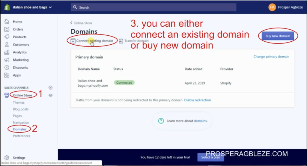 how to add a custom domain name to shopify store