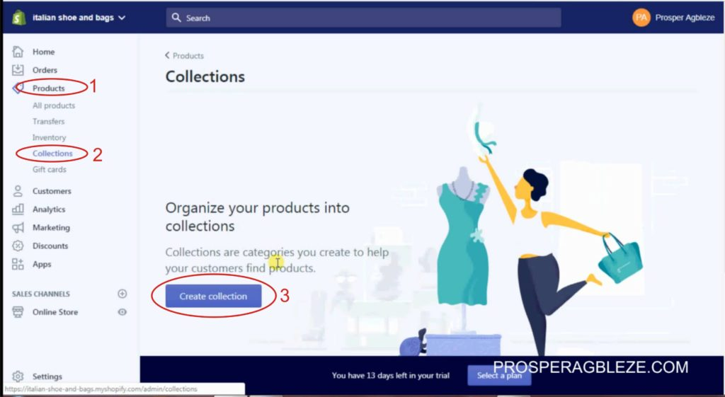 how to add collection to shopify store