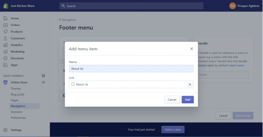 13b how to create a dropdown menu in shopify