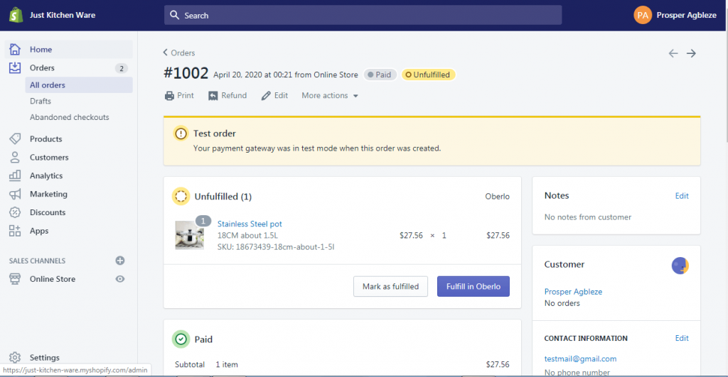 20b how to fulfill shopify order with oberlo